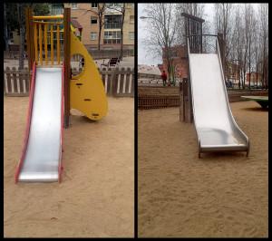Andrea Poza ens mostra la uniformitat que predomina en el disseny dels jocs infantil dels parcs de la nostra ciutat. Són els mateixos projectes, sense tenir en compte el lloc on s'ubiquen. Així, els podem trobar a la platja, al costat de la Gran Via o al centre de la ciutat.