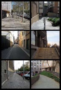 Aya El Bakkale porta 6 fotografies d'un trajecte, on ens fa observar, d'una manera despersonalitzada, els espais que s'hi ha trobat: carrers, zones intermèdies on convergeixen diferents projectes urbanístics, desnivells, etc.