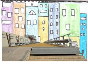 Desi Luján, amb la tècnica del collage, uneix un pont nou a prop de casa seva i crea allò que pot estendre's darrere d'ell. La seva experiència visual apunta allò que encara no existeix.