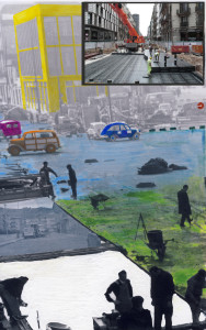 Maria Guallar ens porta a l'exposició un collage on compara el present i el passat de la nostra manera de construir.